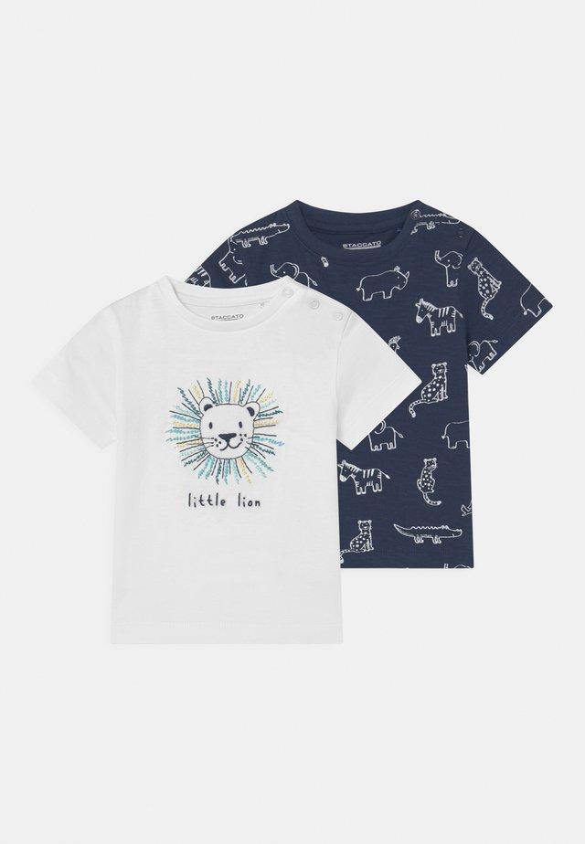 2 PACK - T-shirt print - dark blue/off-white