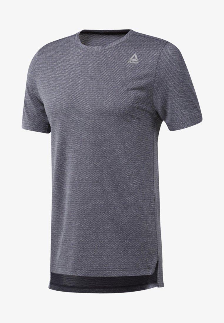 Reebok - WOR MÉLANGE TECH TOP - Print T-shirt - heritage navy