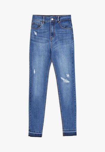 SKINNY HIGH WAIST - Jeans Skinny - mottled royal blue