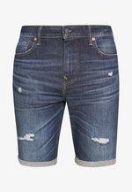 LIGHT DESTROY CUTOFF NO CUFF - Denim shorts - tidal blue
