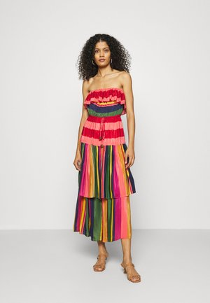 MIXED STRIPES STRAPLESS DRESS - Day dress - multi