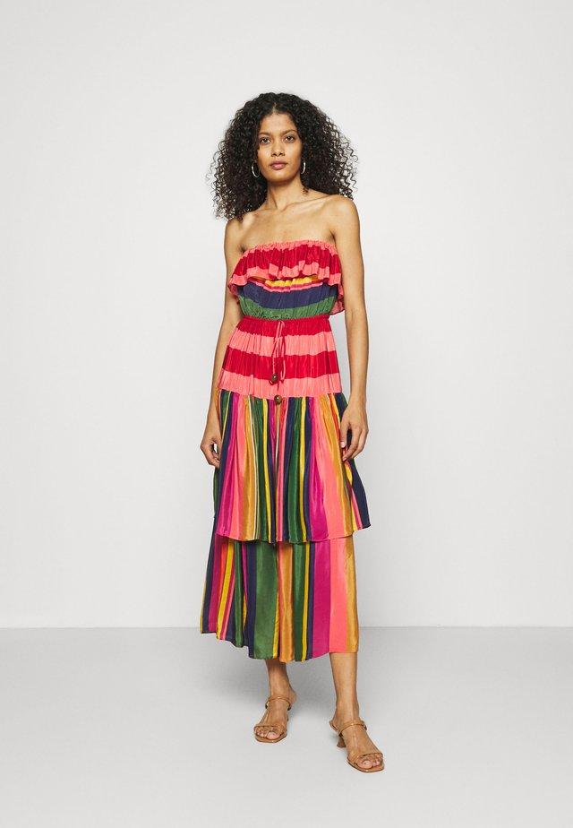 MIXED STRIPES STRAPLESS DRESS - Korte jurk - multi