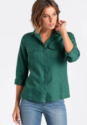 Button-down blouse - bottle green