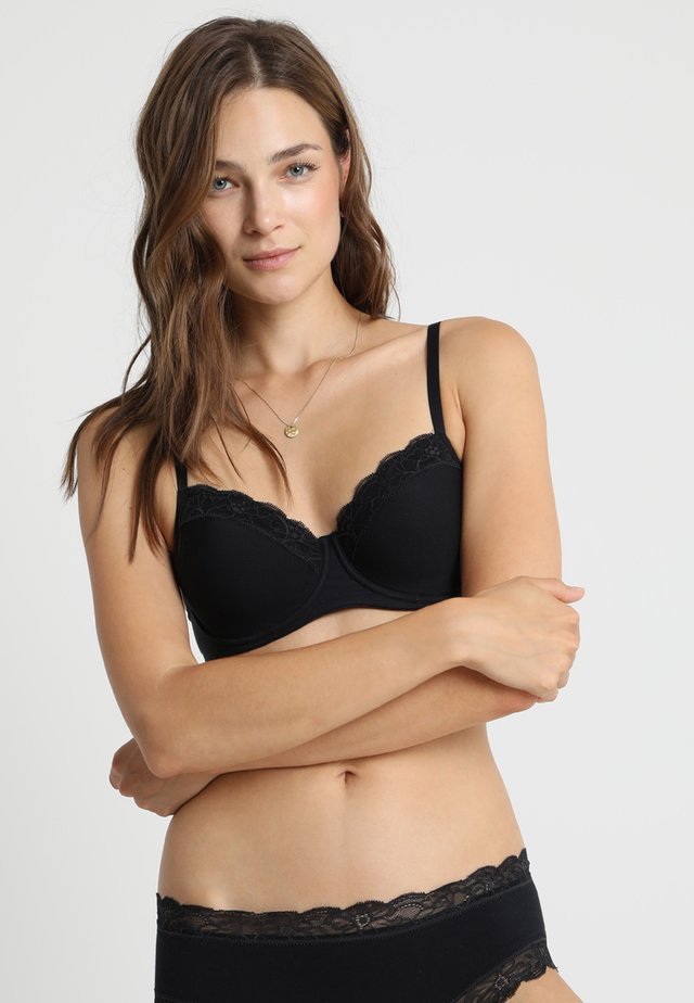 COTTON LACE - Underwired bra - black