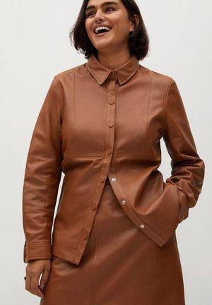 JAMIE - Leather jacket - mittelbraun