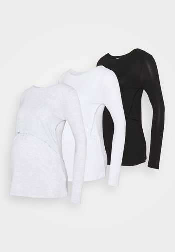 MATERNITY LONG SLEEVE 3 PACK - Long sleeved top - black/white/silver marle
