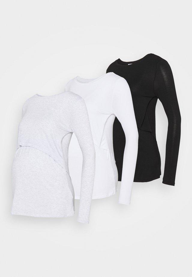MATERNITY LONG SLEEVE 3 PACK - Top sdlouhým rukávem - black/white/silver marle