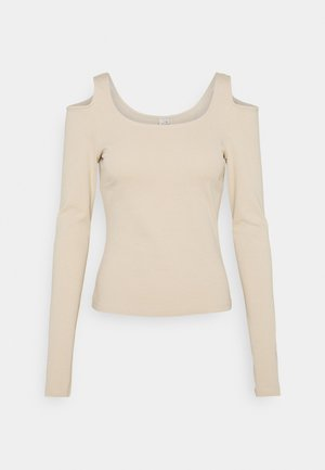 COLD SHOULDER TOP - Long sleeved top - beige