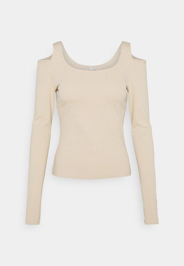 COLD SHOULDER TOP - T-shirt à manches longues - beige