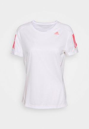 OWN THE RUN TEE - Triko s potiskem - white/signal pink