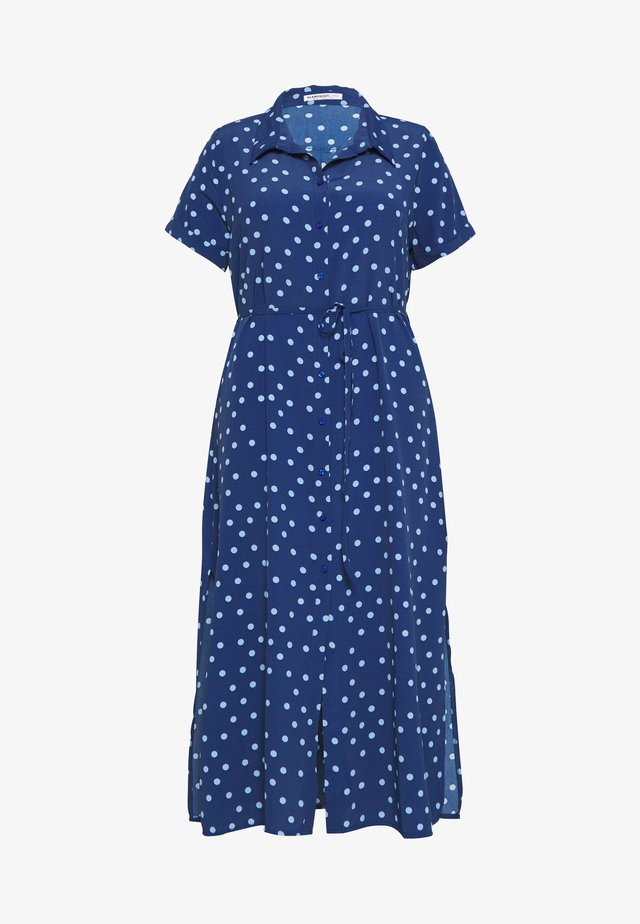 POLKA DOT SHIRT DRESS - Day dress - navy