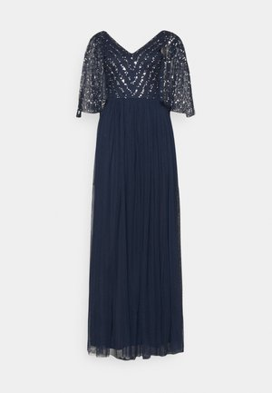CAPE BACK EMBELLISHED MAXI DRESS - Iltapuku - navy