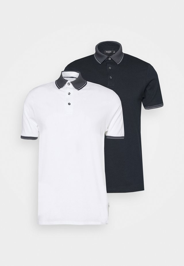 2 PACK - Poloskjorter - white/navy