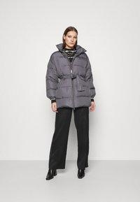 Who What Wear - ZIP FRONT PUFFER JACKET - Winter jacket - slate - 1