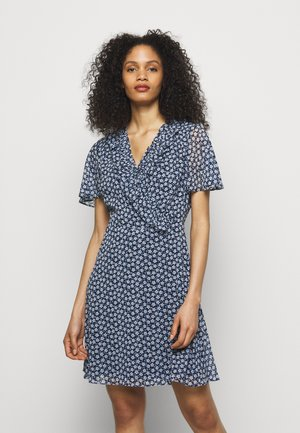 PRINTED GEORGETTE DRESS - Day dress - navy/cream