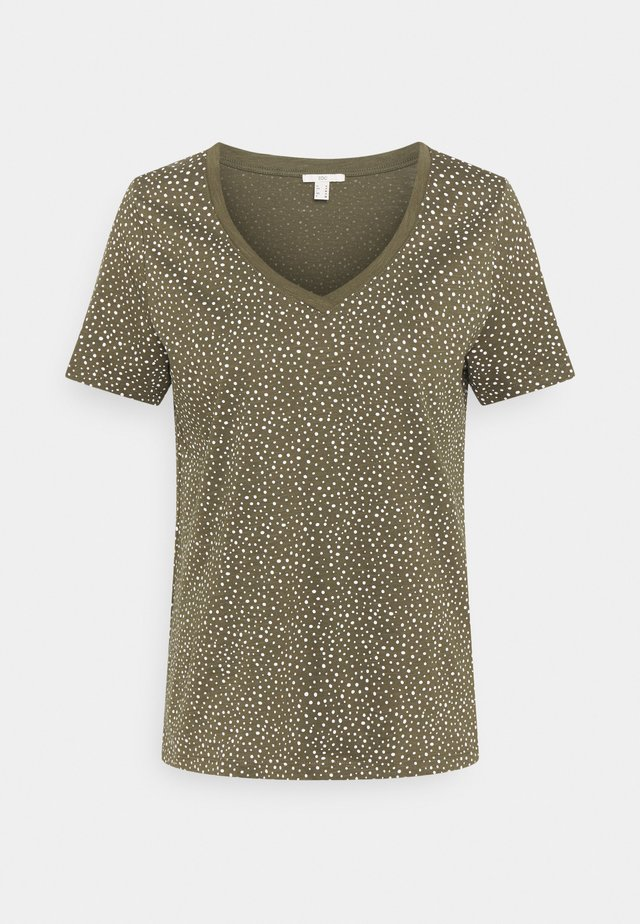 V NECK TEE - T-shirt print - khaki
