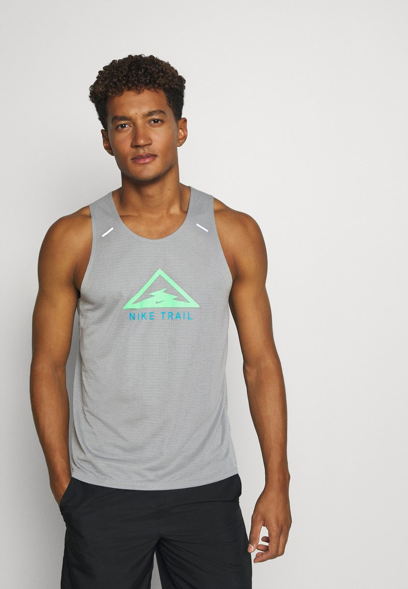 Nike Performance - RISE 365 TANK TRAIL - Sports shirt - particle grey/poison green