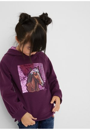 WEICHER MIT GLITZERPRINT - Hoodie - purple
