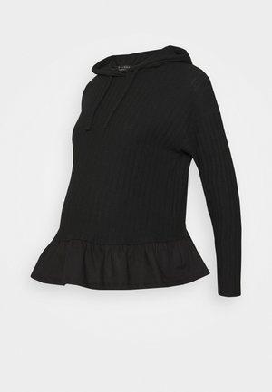 FRILL HOODIE - Sweater - black