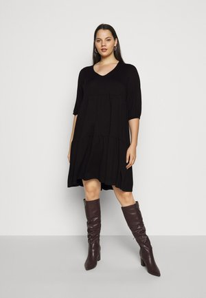 V NECK SMOCK - Jersey dress - black