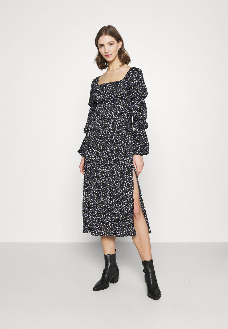 Missguided - SQUARE NECK MIDI DRESS FLORAL - Day dress - black