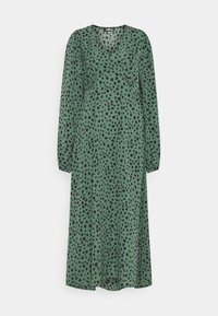 Missguided Tall - V NECK SMOCK DRESS DALMATIAN - Day dress - green - 0