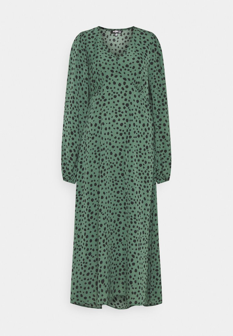 Missguided Tall - V NECK SMOCK DRESS DALMATIAN - Day dress - green