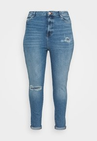 New Look Curves - RIPPED MOM HUFFLEPUFF - Slim fit jeans - mid blue - 0