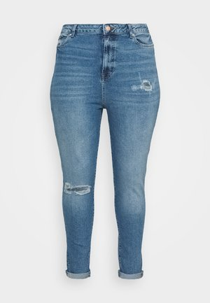 RIPPED MOM HUFFLEPUFF - Slim fit jeans - mid blue