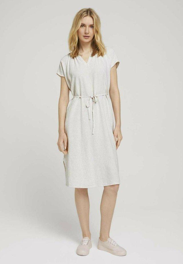 Sukienka letnia - offwhite thin stripe woven