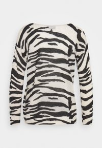 Calvin Klein - BLEND ZEBRA SWEATER - Jumper - black / white - 1