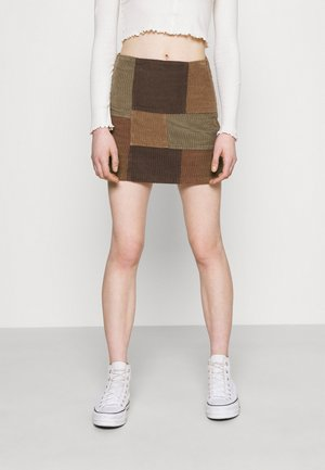 PATCHWORK PELMET SKIRT - Mini skirt - brown