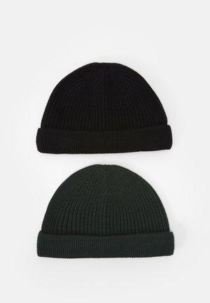 ONSSHORT BEANIE 2 PACK - Bonnet - black/dark green