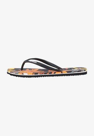 VINTAGE  - T-bar sandals - black lillies