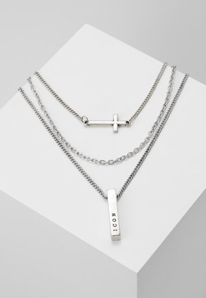 MULTIROW CROSS AND BAR NECKLACE 3 PACK - Halskette - silver-coloured