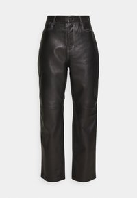 STRAIGHT PANT - Leather trousers - black