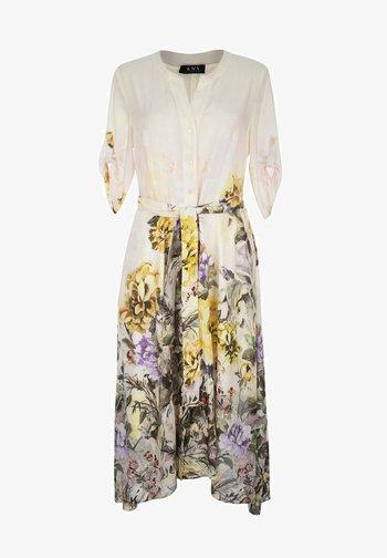 DŁUGA WISKOZOWA W KWIATY - Sukienka letnia - beige