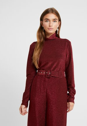 VIGLAMY ROLLNECK - Long sleeved top - black/raspberry/tawny port