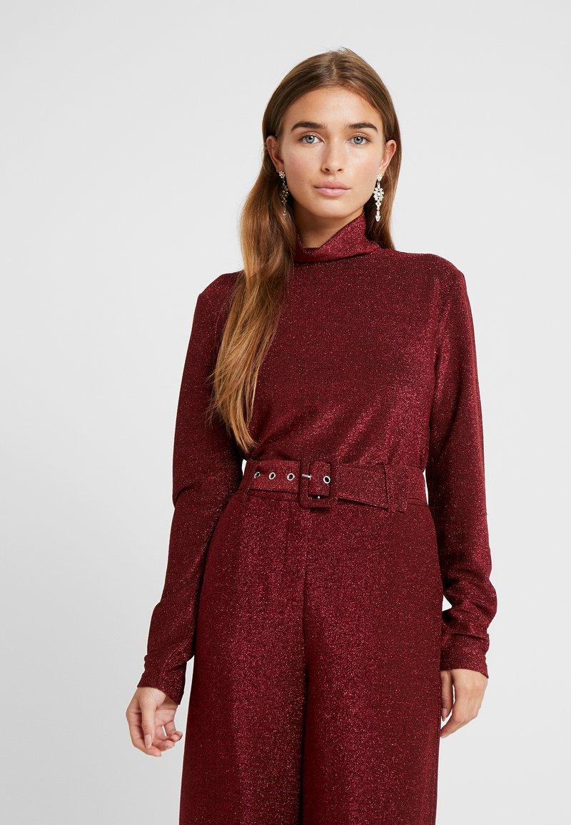 VILA PETITE - VIGLAMY ROLLNECK - Long sleeved top - black/raspberry/tawny port