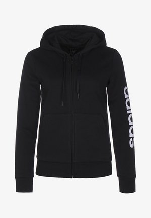 ESSENTIALS - Zip-up hoodie - black / white