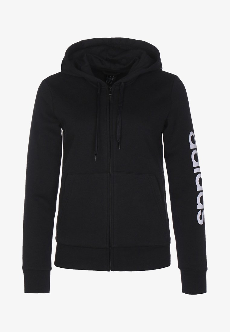 adidas Performance - ESSENTIALS - Sudadera con cremallera - black / white