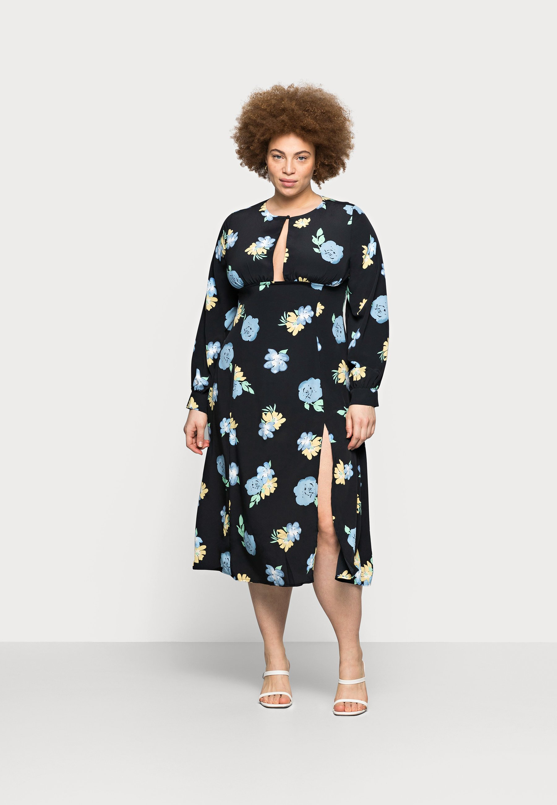 Women MIDAXI DRESS WITH PUFF LONG SLEEVES - Day dress