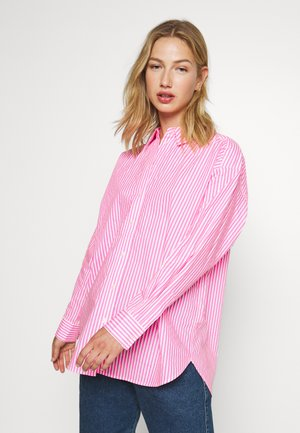 OVERSIZED - Button-down blouse - pink/white