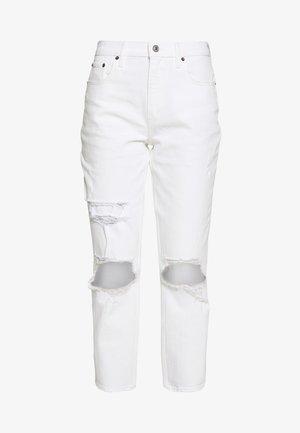 KNEE SLITS MOM - Jeans slim fit - white destroy