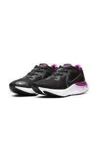 Nike Performance - RENEW RUN - Neutral running shoes - black/white/fire pink/metallic dark grey - 2