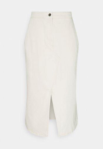 SKIRT MIDI LENGTH - Denim skirt - white