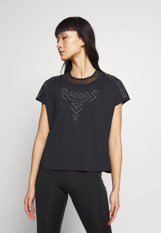 ONPFIONA ATHL LOOSE TEE - Print T-shirt - black/white