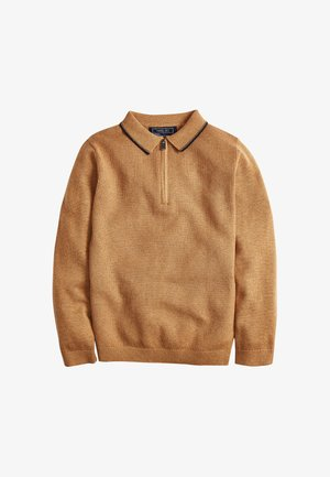 ZIP NECK KNITTED - Polo shirt - brown