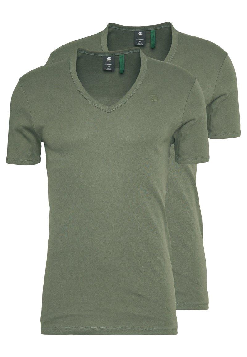 G-Star - BASE V-NECK T S/S 2-PACK - T-shirt basic - oliv