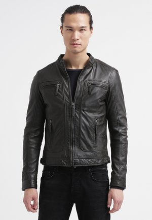 CASEY  - Leather jacket - dark khaki
